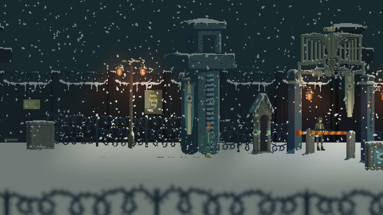 A snowy scene showing our protaganist at the foot of a tower with a guard standing to the right, at a gate.